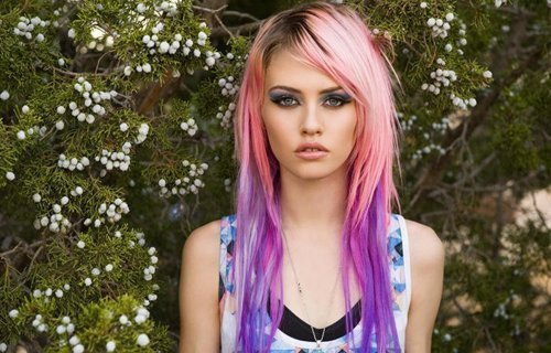 charlotte free, girl, pink hair, purple hair