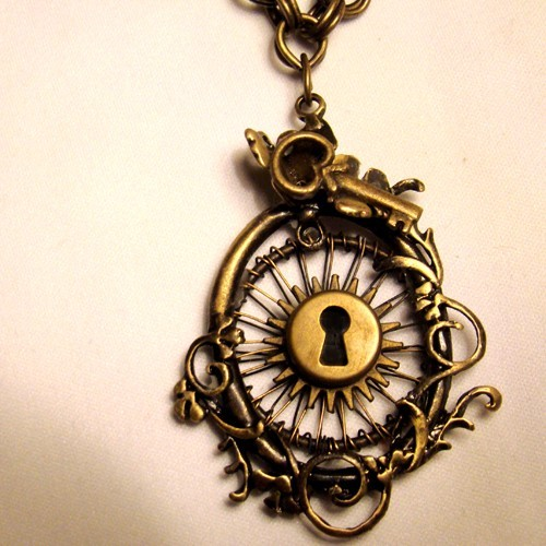 clockwork, jewelry, necklace, owl, steampunk