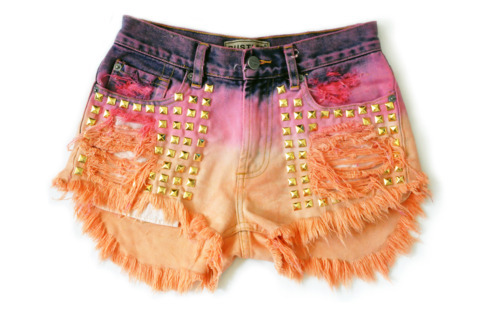 clothes, colourful, dip dye, hipster, shorts, studs