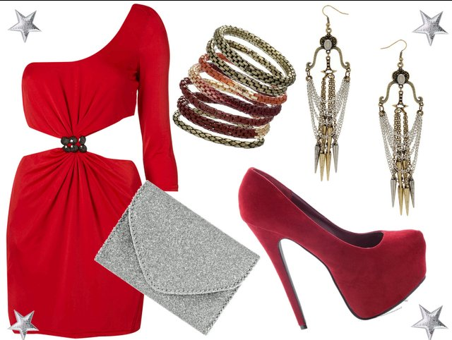clutch, dress, earrings, fashion, highheels