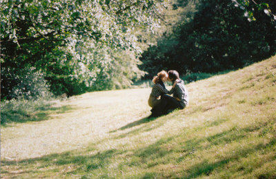 couple, cute, grass, kiss, outside