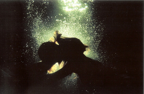 couple, kissing, love, water