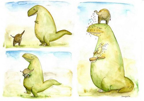 cute, dinosaur, elephant, friends, shower