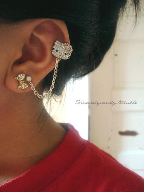cute, ear ring, hello kitty