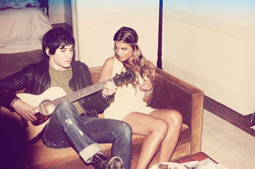 cute, girl, guitar, guy, hair