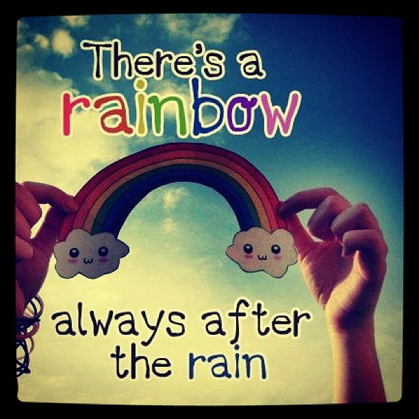 cute, girl, happy, quotes, rainbow