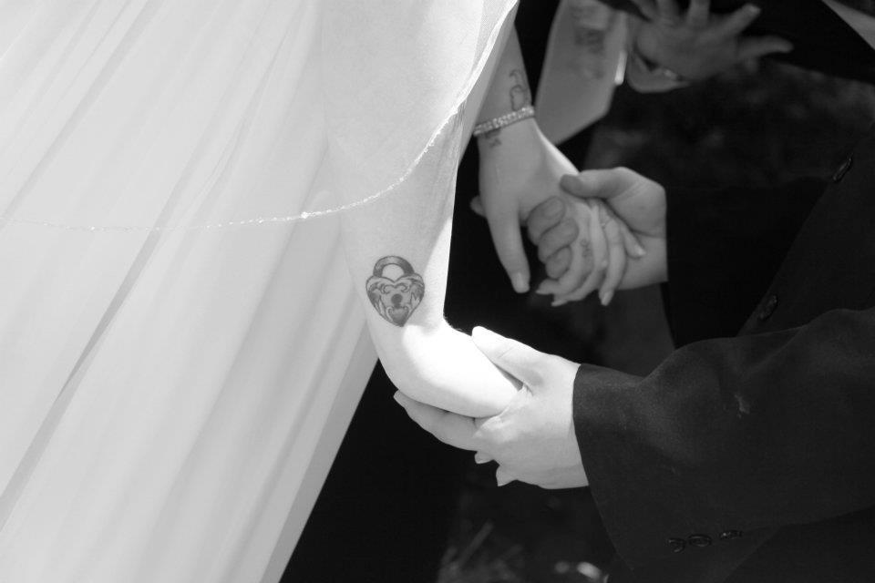 cute, hand holding, suit, tattoos, wedding