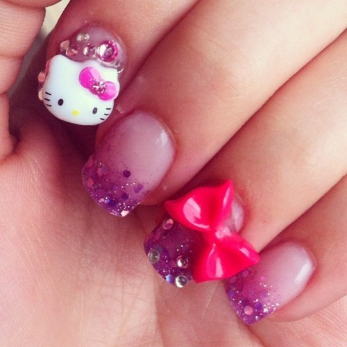 cute, hello kity, nails