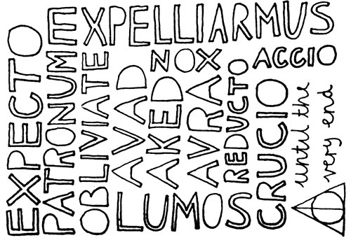deathly hallows, exoelliarmus, expecto patronum, harry potter, spells, typography