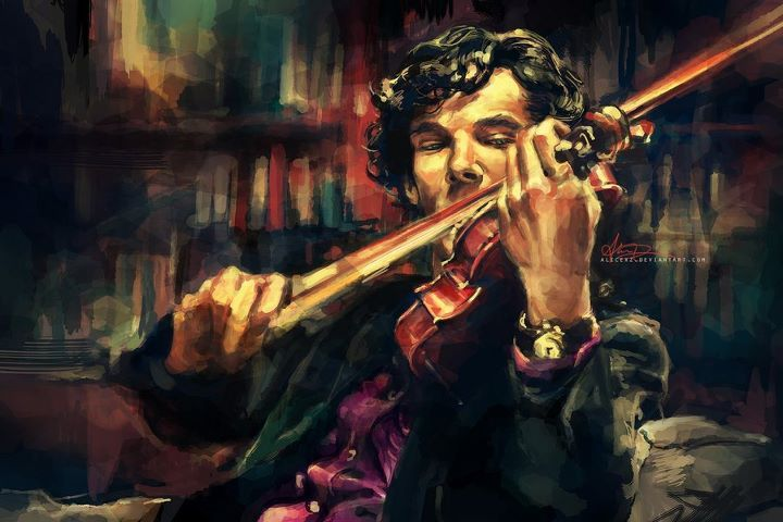 drawing, holmes, paint, sherlock, violin