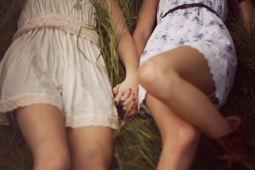 dress, friends, grass, happy, laying, nails, vintage