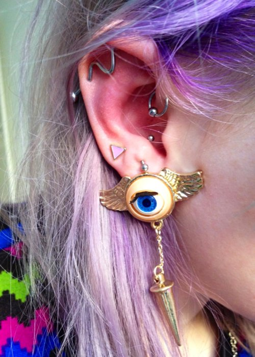 dyed hair, earing, fashion, girl