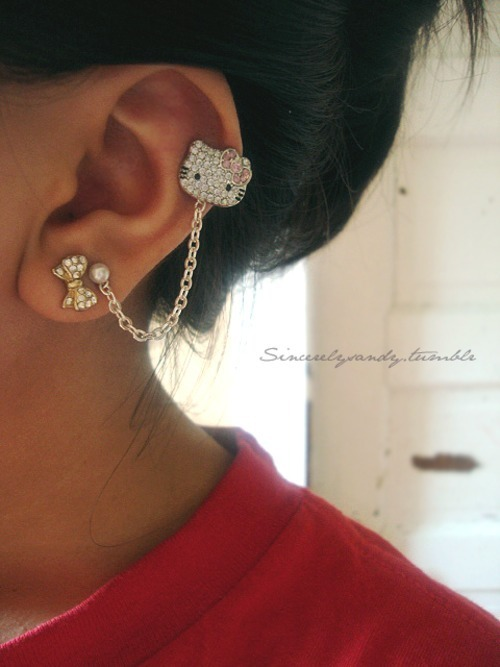 earing, hello kitty, pretty