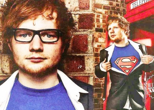 ed sheeran, ginger, glasses, hot, magazine, music, singer, superman, superman shirt, unf