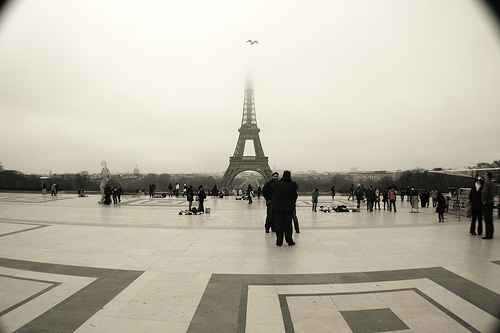 eiffel tower, mist, paris