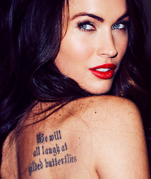 eyes, hot, lips, megan fox, model, red lips, sexy, tatoo