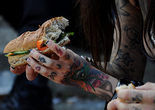 girl, ink, inked, photography, sandwich