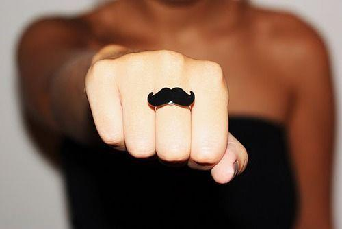 girl, moustache, ring