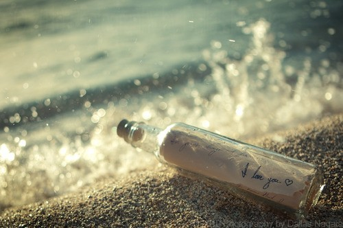 i love you, message in a bottle, water