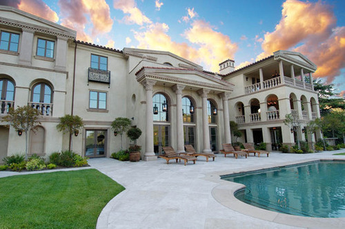 mansion, pool, sunset