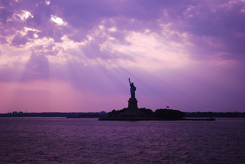 new york, purple, sky, statue of liberty