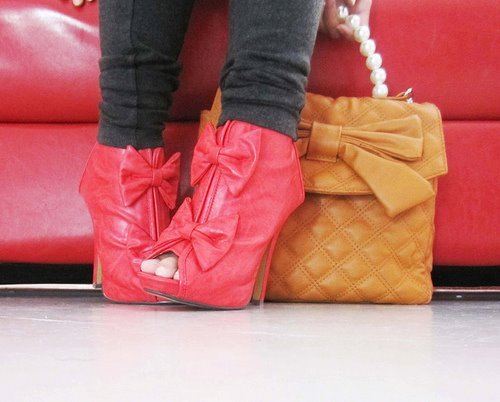 *-*, acessorie, beautyfantasy, boots, bow, chic, cute, fashion, girly, i loved, pink, purse, shoes