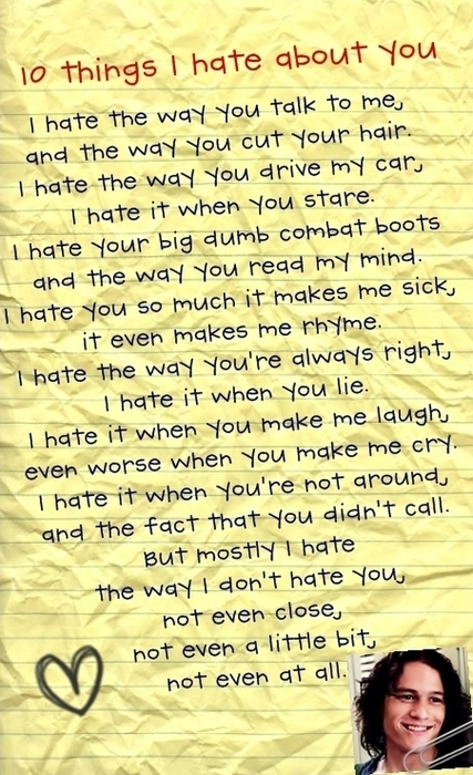 10 things i hate about you, hate, heart, heath legger, love, movie ...