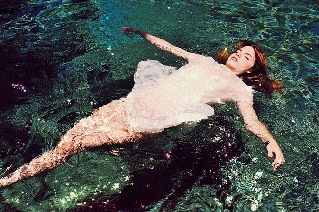 35mm, ginger, girl, naure, ophelia, reflection, ripple, summer, trees, underwater, vintage, water