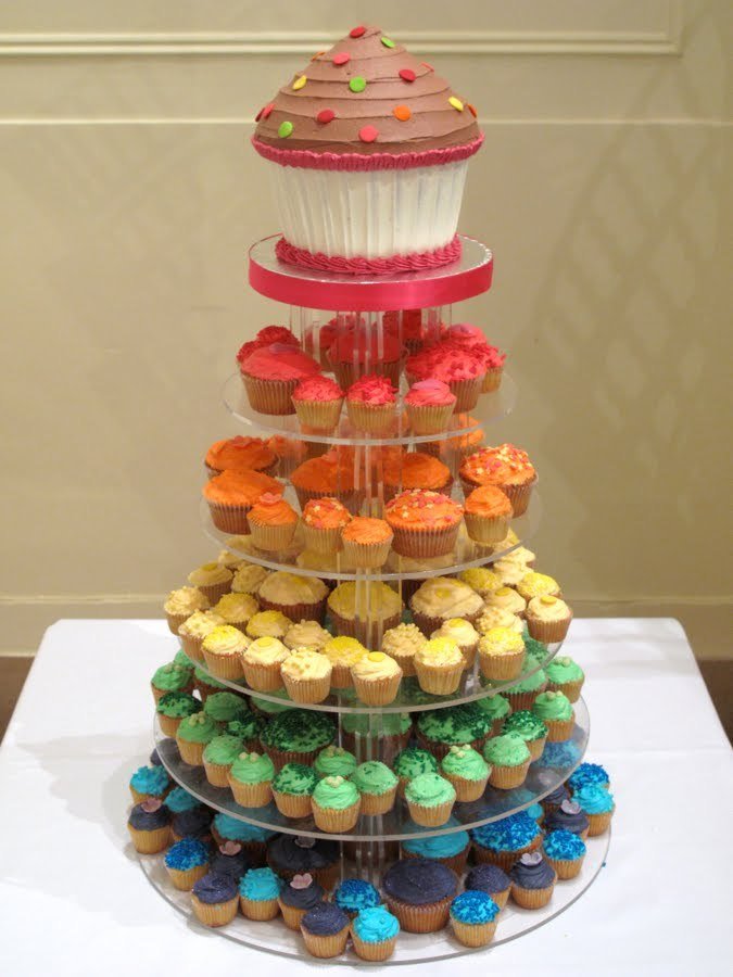 5 levels, big, blue, colorful, cupcakes