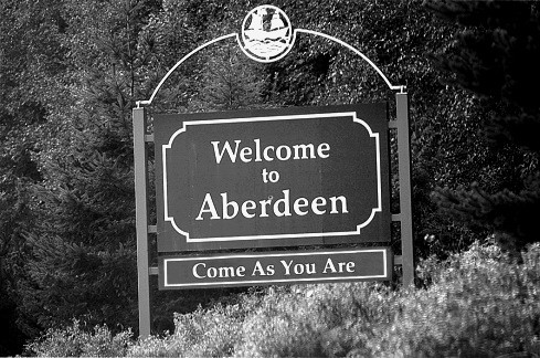 aberdeen, b&w, black & white, black and white, come as you are, nirvana, text, welcome
