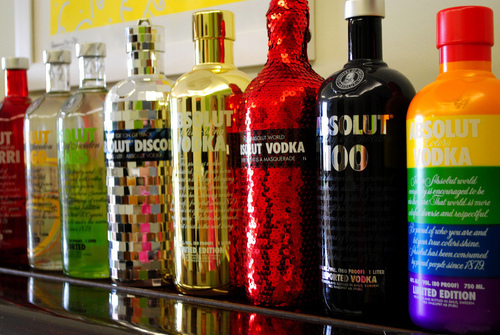 absolut vodka, alcohol, colourful, disco, glitter