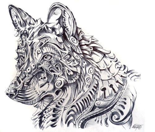 abstract, art, b&w, black&white, draw, drawing, fantasy, wolf