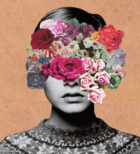 abstract, art, flowers, girl, head