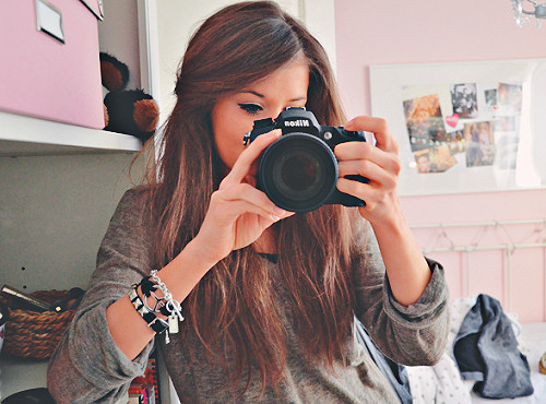 accesories, bedroom, brunette, camera, cute