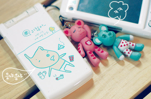 accessories, bear, bears, beautiful, blue, cellphone, colorful, colors, cute, design, drawing, eyes, girly, happy, kawaii, korea, korean, photography, pink, smile, smiling, white