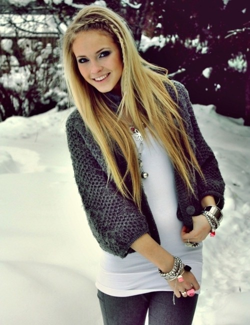 accessories, blonde, bracelet, braid, emilie nereng, fashion, girl, hair, hairstyle, jewelry, outfit, snow, winter