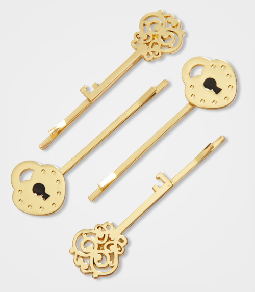 accessories, bobby pins, cute, gold, grips, hair, i want them, key, lock, lock and key, pins, pretty, slides, sweet