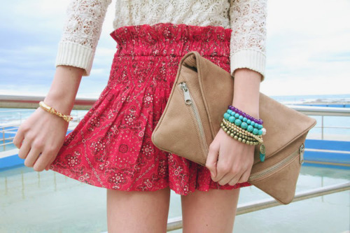 accessorize, bag, bracelet, bracelets, brown, clothes, cute, dress, fashion, floral, girls, hadns, jewelry, jumper, lace, legs, lovely, pattern, photography, pretty, pursue, red, skin, skinny, skirt, sweater, thin, white, woman