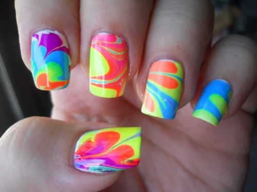 acrylic, acrylic nails, colorful, colors, cool, fresh, manicure, marble nails, nail polish, nails, neon