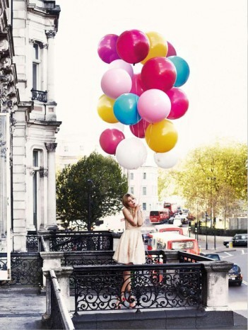 actress, balcony, balloons, baloons, beauty, clemence poesy, colours, cute, dress, girl, glamour, model
