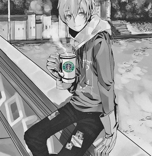 adorable, amazing, anime, art, b&w, beautiful, black & white, black and white, boy, coffe, cute, draw, eyes, fashion, guy, hair, illustration, image, kawaii, male, perfect, starbucks, style