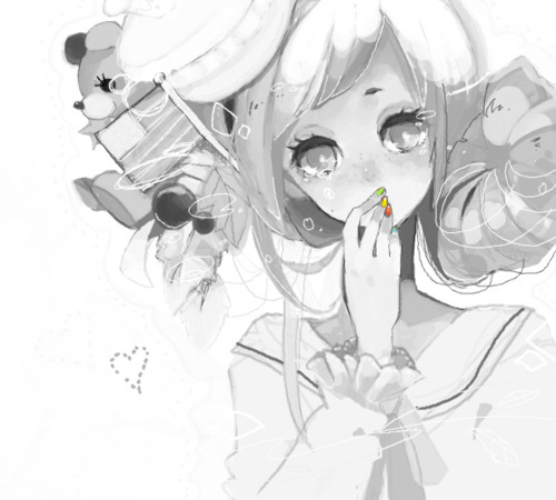 adorable, amazing, anime, art, b&w, beautiful, black & white, black and white, cute, draw, eyes, fashion, female, girl, hair, illustration, image, kawaii, nails, perfect, pretty, style