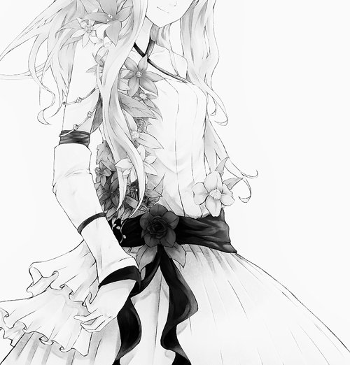 adorable, amazing, anime, art, b&w, beautiful, black & white, black and white, cute, draw, dress, fashion, female, flowers, girl, hair, illustration, image, kawaii, perfect, pretty, style