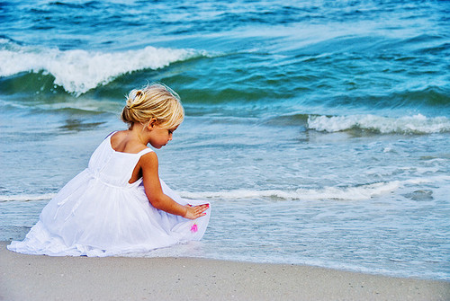 adorable, annie, blond, blue, cute, dress, drop, girl, hair, ocean, pink, pretty, princess, shoulder, sky, wave, white