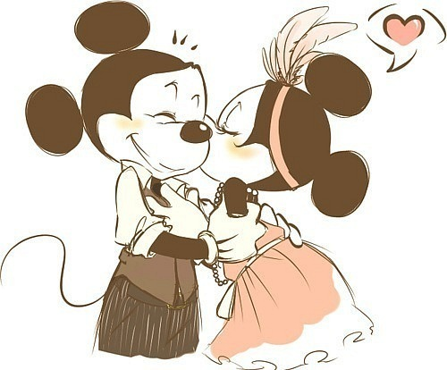 adorable, art, couple, cute, drawing, heart, kiss, love, mickey mouse, minnie mouse, sweet