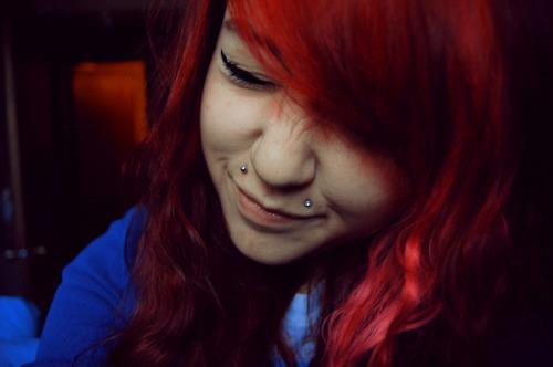 adorable, aww, beautiful, cute, girl, hair, piercings, pretty, red, red hair, smile, style
