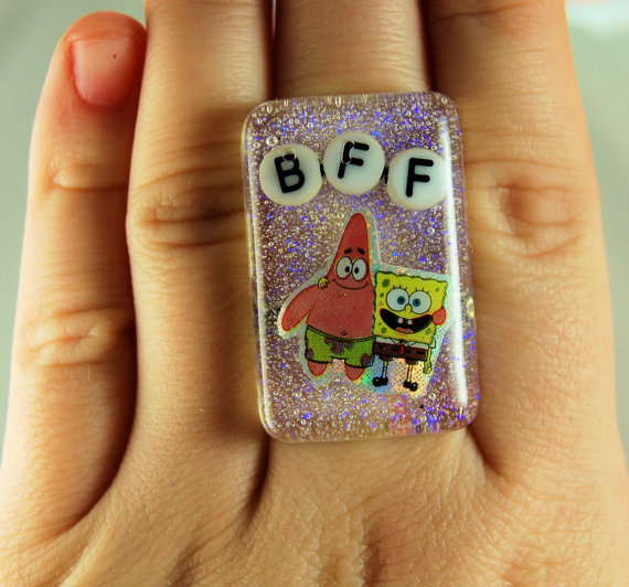 adorable, best friends, bff, for sale, girly, glitter, jewelry, patrick, photography, resin, ring, spongebob