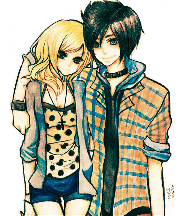 adorable, couple, cute, drawing, emo
