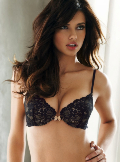 adriana lima, beauty, black, bow, bra, fashion, hair, victorias secret
