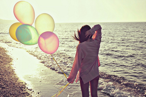 adventure, alone, balloons, beach, beautiful